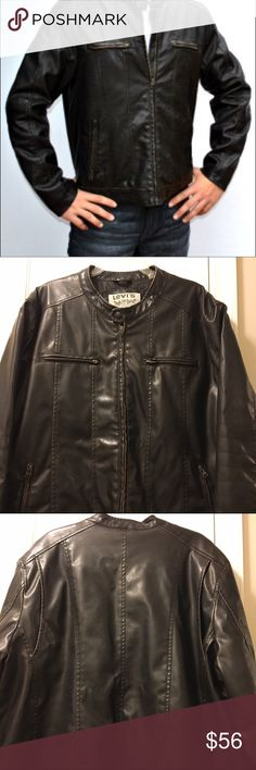 Men's Levi's Vegan Leather Motorcycle Jacket Classic and stylish, this Levi's motorcycle jacket is a must-have for fall. Pair with your favorite tee and jeans for a casual cool look. Dark brown faux leather with zipper pockets on the chest and stitching details on the elbows. Tailored seams down the chest and back. Minor scuffing on the left arm and one small scuff near left pocket, barely noticeable. Otherwise,  in great condition. ❌No trades Levi's Jackets & Coats