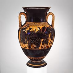 Related to the Antimenes Painter | Terracotta amphora (jar) | Greek, Attic | Archaic | The Met