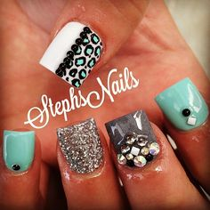 #grey#white#blue#silver#crystals#leopard#studs#nails#cute#love#notpolish