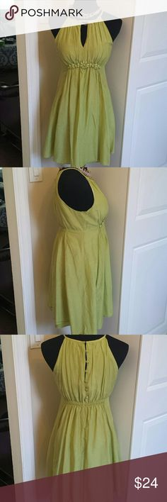 Silk A-line Gathered Eyelet Spring Dress Gorgeous silk dress with fully lined A-line empire waist skirt. Eyelet bust and buttons up the back with hook and eye closure. Flowy and lightweight, perfect for spring and summer! Feel free to make an offer! Esley  Dresses