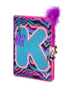 Zebra Glitter Initial Diary - Justice