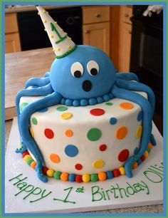 Birthday Octopus Cake - Boys Birthday Cakes - - first birthday cake - Best Cake Recipes Ocean Cakes, Beach Cakes, 1st Birthday Cakes, 1st Boy Birthday, Cupcakes, Cupcake Cakes, Octopus Cake, Cake Creations, Themed Cakes