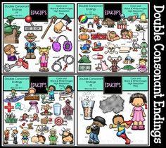 Double Consonant Word Endings Big Bundle {Educlips Clipart} Clip Art, Comics, Words, Frames, Collection, Big, Ideas, Frame, Comic Books