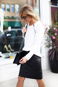 knit sweater + leather skirt, black and white outfit