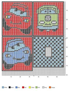 CARS 2/3 Plastic Canvas Coasters, Plastic Canvas Ornaments, Plastic Canvas Tissue Boxes, Plastic Canvas Christmas, Plastic Canvas Crafts, Plastic Canvas Patterns, Beaded Cross Stitch, Cross Stitch Patterns, Afghan Patterns
