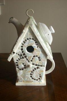 Teapot Glass Mosaic Birdhouse by JoyOfSharon on Etsy, $75.00