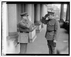 """New York Yankees star Babe Ruth (r) salutes Gen. John """"Black Jack"""" Pershing on 28 May Ruth had just signed up for a three-year hitch with the New York Old Photos, Vintage Photos, History Posters, Ww1 History, History Photos, Modern History, Military History, Babe Ruth, World War One"""