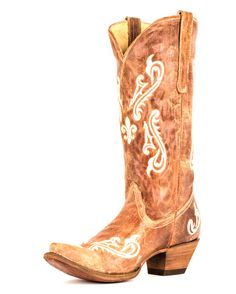 Corral Women's Tan Brown Cortez/Cream Fleur de Lis Boot - R1974  $154 may be in my price range!