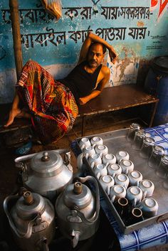 A chai-wala is taking rest... Visit Delhi with boutique tour organiser in India…