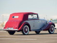 Rolls-Royce Wingham Four-Door Cabriolet by Martin Walter 1937 Drag Racing, Rolls Royce, Antique Cars, Train, Vehicles, Badass, Vans, Concept, Vintage Cars