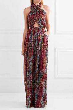 Matthew Williamson - Akita Printed Silk-chiffon Halterneck Jumpsuit - Magenta - UK