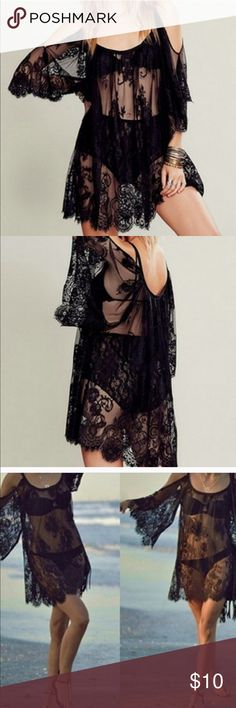 """Black Lace Open Shoulder Dress Cover Up Size Med New without tag. I purchased for me because it's gorgeous but I still haven't worn it! Beautiful black lace in floral design. Scoop neck with open shoulders. 3/4 sleeves. 18.5"""" armpit to armpit laying flat. Full length measures 33"""". Dresses"""