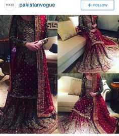 Oxblood bridal outfit by Sobia nazir