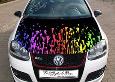 Color Drops Full Color Graphics Adhesive Vinyl Sticker Fit any Car Hood 195