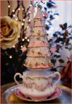 The finished tree-crepe paper tree in a tea cup. Shabby Chic Christmas, Victorian Christmas, Pink Christmas, All Things Christmas, Handmade Christmas, Vintage Christmas, Christmas Wishes, Merry Christmas, Christmas Tabletop