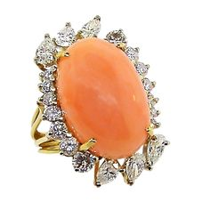 Exquisite Angel Skin Coral Diamond Ring | From a unique collection of vintage cocktail rings at http://www.1stdibs.com/jewelry/rings/cocktail-rings/