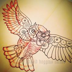 Putting a Steampunk owl on Jack's shoulder today! #tattoo #sketch #steampunk #owl