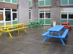 Colourful 8 seater picnic tables! Make lunch time more exciting.