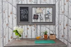 Love the chicken wire/chalkboard look! Jeanetta & Brian's Incredible Shared Space
