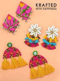 Shop from our wide range of & ✓ Cash on delivery ✓ Discount ✓ Latest Designs Silk Thread Earrings, Fabric Earrings, Diy Earrings, Earrings Handmade, Diy Fabric Jewellery, Textile Jewelry, Handmade Jewelry Designs, Handmade Accessories, Gota Patti Jewellery