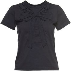 Marc Jacobs Small Folded Bow Cotton Tee ($190) ❤ liked on Polyvore featuring tops, t-shirts, bow print top, bow t shirt, blue top, cotton tee and bow top