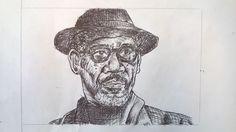 Caricatura Morgan Freeman, penna - Drawing of Morgan Freeman, pen