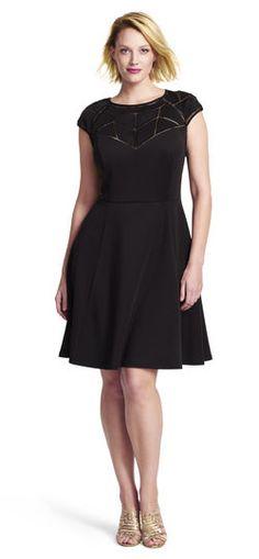 geometric paneled fit and flare dress