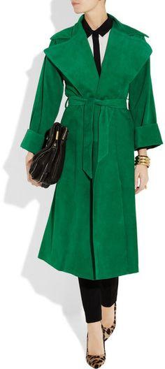 Ralph Lauren Collection Leah Suede Coat in Green | Lyst