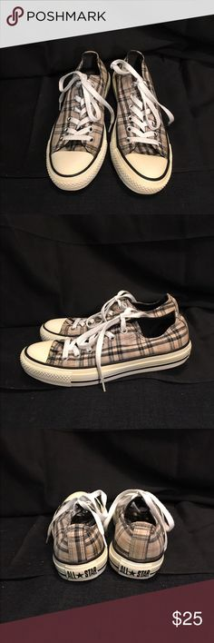 Size 7 plaid converse sneakers Cute size 7 plaid converse sneakers, the color of the plaid is close to Burberry plaid, great condition and gently used. Converse Shoes Sneakers