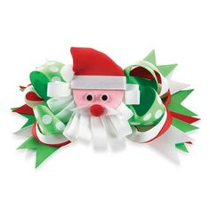 This fun accessory is actually three bows in one! Wear the bow or the center clip Santa ornament separate. Hair Barrettes, Hair Bows, Santa Ornaments, Mud Pie, Holiday Decor, How To Make, Fun, Ribbon Bows, Ribbons