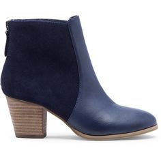 Sole Society Chris Mixed Materials Bootie ($54) ❤ liked on Polyvore featuring shoes, boots, ankle booties, dark navy, back zip ankle boots, ballet pumps, mid heel booties, mid heel ankle boots and ankle boots