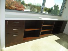 The Dark Recon Walnut Veneer On This Credenza Contrasts Beautifully Against Crisp