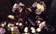 Wedding floral in Plum, eggplant, lavender and cream mixture