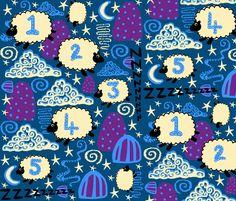 Follow the Sheep to the Land of Nod fabric by slumbermonkey on Spoonflower - custom fabric