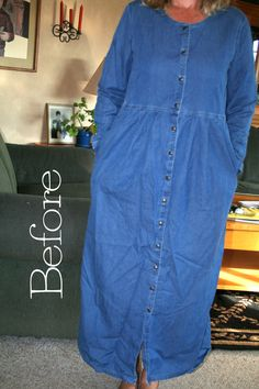 DIY Denim Dress Refashion Tutorial....Reeser next time I find one of these at a garage sale it's urs!!!!!