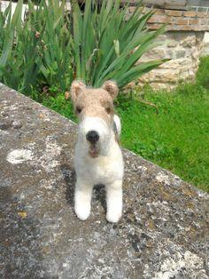 Needlefelted fox terrier by JuliePavittRobinson on Etsy