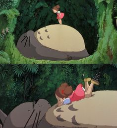 Totoro! This is the scene where Mei finds Totoro. I imagine as a young girl I was much like Mei, flitting heedlessly through the woods, lost in my own little imaginary world.