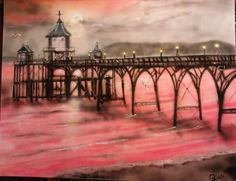 Sunset at Clevedon Pier, on large canvas, for heritage member