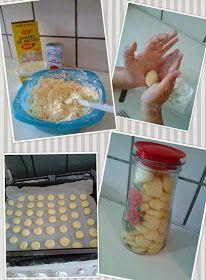 Ingredientes  .500g de maizena .1 lata de leite condensado .200g de margarina sem sal Modo de fazer: É só misturar tudo e assar em forno ...
