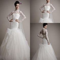 Romantic Lace Graden Long Sleeve Mermaid Wedding Dresses Princess Styles 2015 New High Neck Tulle Train Bridal Gowns Sexy Wedding Gowns ZC from Engerlaa,$158.46   DHgate.com