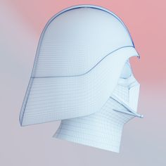 Blender 2.7.9 Dark Vador helmet wireframe. Mesh in Blender. Render : Blender Cycle.