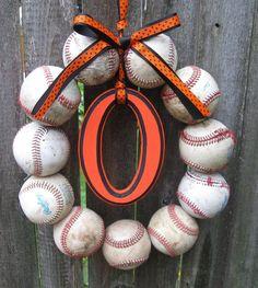 Baseball wreath...too cute! 40.00