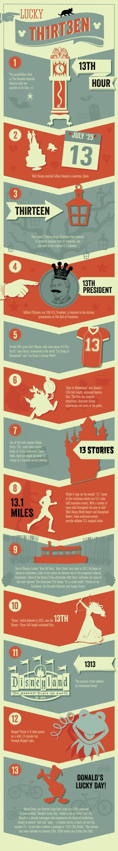 "Lucky ""13"" at Disney Parks in honor of Friday the 13th. #infographic #DisneySide"