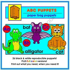 FREE ABC Paper Bag Puppets!! Enter for your chance to win 1 of 10.  ABC Paper Bag Puppets (52 pages) from Mister Kindergarten on TeachersNotebook.com (Ends on on 8-25-2014)  Create a paper bag puppet for each letter of the alphabet! 26 reproducible black and white student patterns as well as 26 full color teacher samples! 10 days... 10 winners!