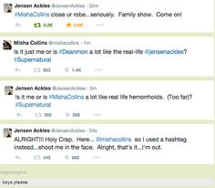 YES, and here we have the much-anticipated Misha vs. Jensen twitter showdown. #Supernatural #Season10Premiere