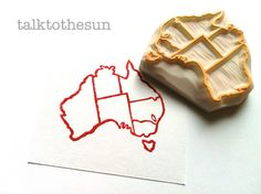 australia map rubber stamp.  hand carved rubber by talktothesun, $17.00