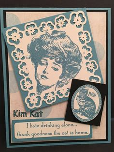 CAT Card Pop Up Funny 3D Gibson Girl I Hate Drinking by KimKatShop