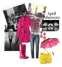 April Showers by giubagnols on Polyvore featuring polyvore, мода, style, Marc Jacobs, Merona, Paige Denim, Hunter, Dolce&Gabbana, David Aubrey, Pottery Barn, fashion and clothing