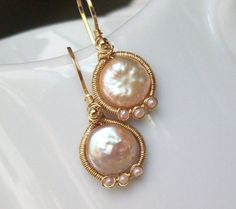 Coin Pearl Earrings by SparrowsJewels on Etsy, $64.00