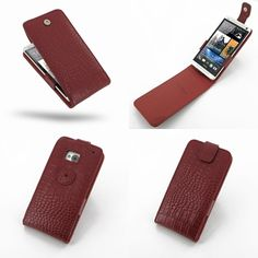 PDair Leather Case for The New HTC One 801e 801s - Flip Top Type (Red/Crocodile Pattern)